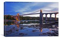 Menai Bridge and strait , Canvas Print
