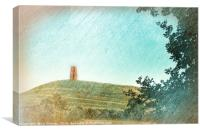 Glastonbury Tor - artsy style, Canvas Print