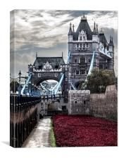 Tower Bridge & 'Blood Swept Lands and Seas of Red', Canvas Print