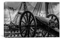 Late 1800s Breech Cannon & HMS Victory., Canvas Print