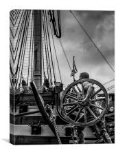 Dock Worker Statue & HMS Victory, Canvas Print