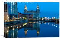 Liver Buildings from Princes Dock, Canvas Print