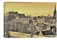 SEPIA EDINBURGH CASTLE FROM TERRACE, Canvas Print
