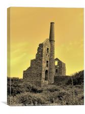 SEPIA CARN GALVER MINE CORNWALL, Canvas Print