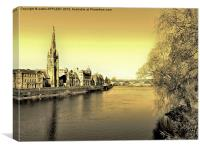 SEPIA  TAY STREET PERTH SCOTLAND, Canvas Print