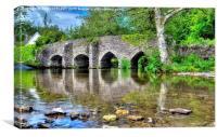 Bury Bridge And Ford Exmoor, Canvas Print