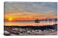 Clevedon Pier Beach At Sunset, Canvas Print