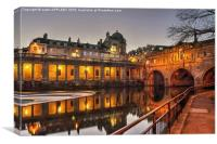Pulteney Bridge Bath At Dusk, Canvas Print