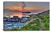 Day Ending At Godrevy Lighthouse, Canvas Print