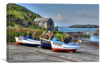 Mullion Cove Harbour Fishing Boats, Canvas Print