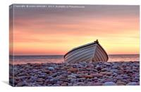 Budleigh Boat On The Pebbles, Canvas Print