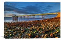 Last light On Clevedon Pier, Canvas Print
