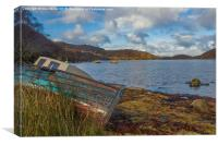 Wreck By The Loch , Canvas Print