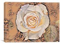Cream Rose Art, Canvas Print