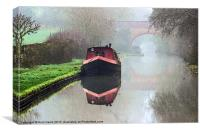 Foggy day on the Canal., Canvas Print