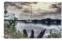 Yacht on Wroxham Broad., Canvas Print