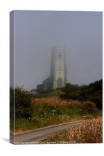 Ghostly Happisburgh church in a sea fret, Canvas Print