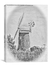 Horsey windpump black and white, Canvas Print