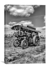 "Showmans Engine ""Lord Nelson"" Black and White, Canvas Print"
