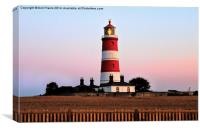 Happisburgh lighthouse shining, Canvas Print