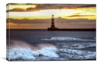 Roker pier and lighthouse sunrise, Canvas Print