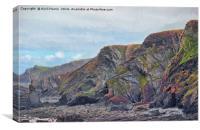 Hartland Quay Cliffs, Canvas Print