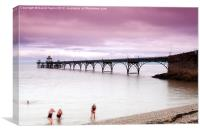 Bathers at Clevedon Pier, Canvas Print