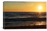 Sunset Sea and Beach., Canvas Print