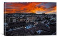 Fire Over Firenze (Florence), Canvas Print