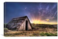 Seaweed drying hut sunrise, Canvas Print