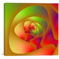 Green and Red Spiral Labyrinth, Canvas Print