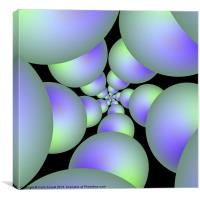 Green and Lilac Sphere Spiral, Canvas Print