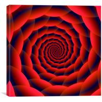 Red and Blue Spiral, Canvas Print