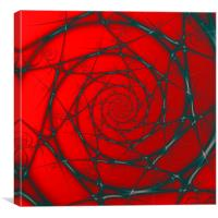 Wire Spiral on Red, Canvas Print