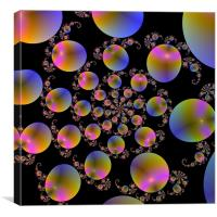 Spiral Bubbles on Black, Canvas Print