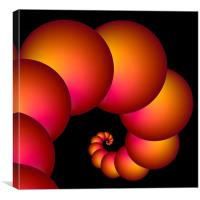 Orange Red Spiral Spheres, Canvas Print