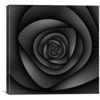 Spiral Labyrinth in Monochrome, Canvas Print