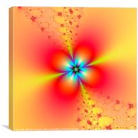 Floral Sprays in Red and Yellow, Canvas Print