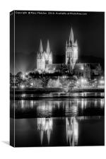 Truro Cathedral in Black and White, Canvas Print
