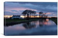 Last Light On The Canal Lancashire, Canvas Print