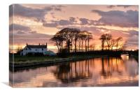 Pink Skies Over The Lancaster Canal - Condor Gree, Canvas Print