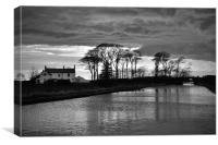 Lancaster Canal Black And White, Canvas Print