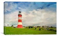 Smeaton's Tower on Plymouth Hoe in Devon., Canvas Print
