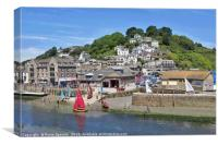 Sailing boats at Looe on a summer's day. , Canvas Print