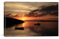 Sunset And Boats At Trondra, Canvas Print