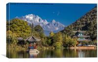 Black Dragon Lake Pagodas - Lijiang, China, Canvas Print