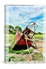 A Colourful boat lies on Heswall Beach, Canvas Print
