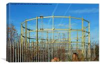 Partly demolished gas holder, Canvas Print