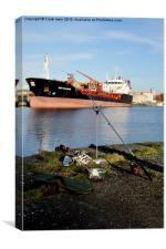 Stolt Razorbill loading in Birkenhead Docks., Canvas Print