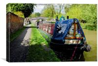 A pair of narrow boats at Christleton in Cheshire, Canvas Print